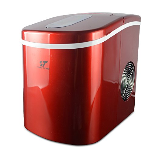 Yongtong-Ice-Maker-Counter-Top-Ice-Machine-Automatic-Portable-Icemaker-Producing-26Lbs12Kg-per-Day-2-Selectable-Cube-Sizes-with-Easy-Touch-Buttons-Stainless-Steel-22L23QT-Capacity-Red-0