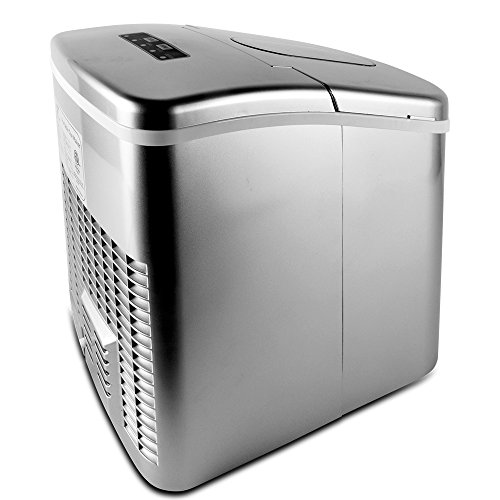Yongtong-Ice-Maker-Countertop-Automatic-Portable-Icemaker-Machine-Producing-26Lbs12Kg-per-Day-2-Selectable-Cube-Sizes-with-Easy-Touch-Buttons-Stainless-Steel-22L23QT-Capacity-Silver-0-1
