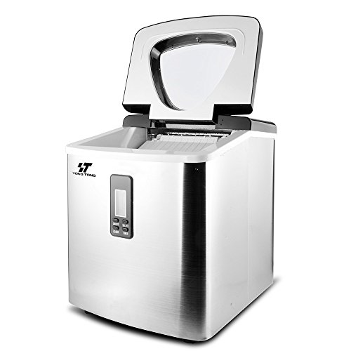 Yongtong-Ice-Maker-Countertop-Icemaker-Automatic-Machine-Producing-33Lbs-per-Day-3-Selectable-Cube-Sizes-with-Easy-Touch-Buttons-LED-Display-Stainless-Steel-33L35QT-Capacity-Silver-0-1