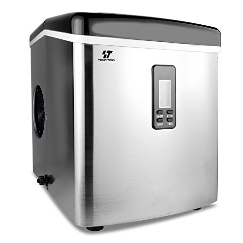 Yongtong-Ice-Maker-Countertop-Icemaker-Automatic-Machine-Producing-33Lbs-per-Day-3-Selectable-Cube-Sizes-with-Easy-Touch-Buttons-LED-Display-Stainless-Steel-33L35QT-Capacity-Silver-0