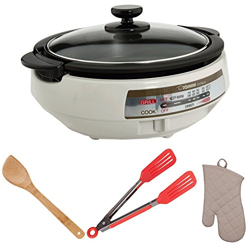 Zojirushi-EP-PBC10-Gourmet-dExpert-Electric-Skillet-with-15-Inch-Bamboo-Stir-Fry-Spatula-Tongs-Oven-Mitt-Bundle-0